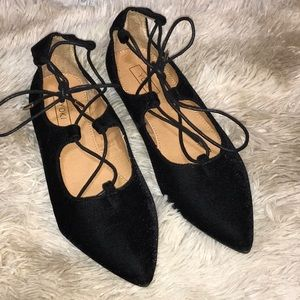 YOKI lace-up black velvet flats 8.5 EUC